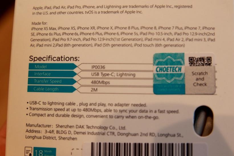 CHOETECH『USB-C to ライトニング ケーブル(2m)』