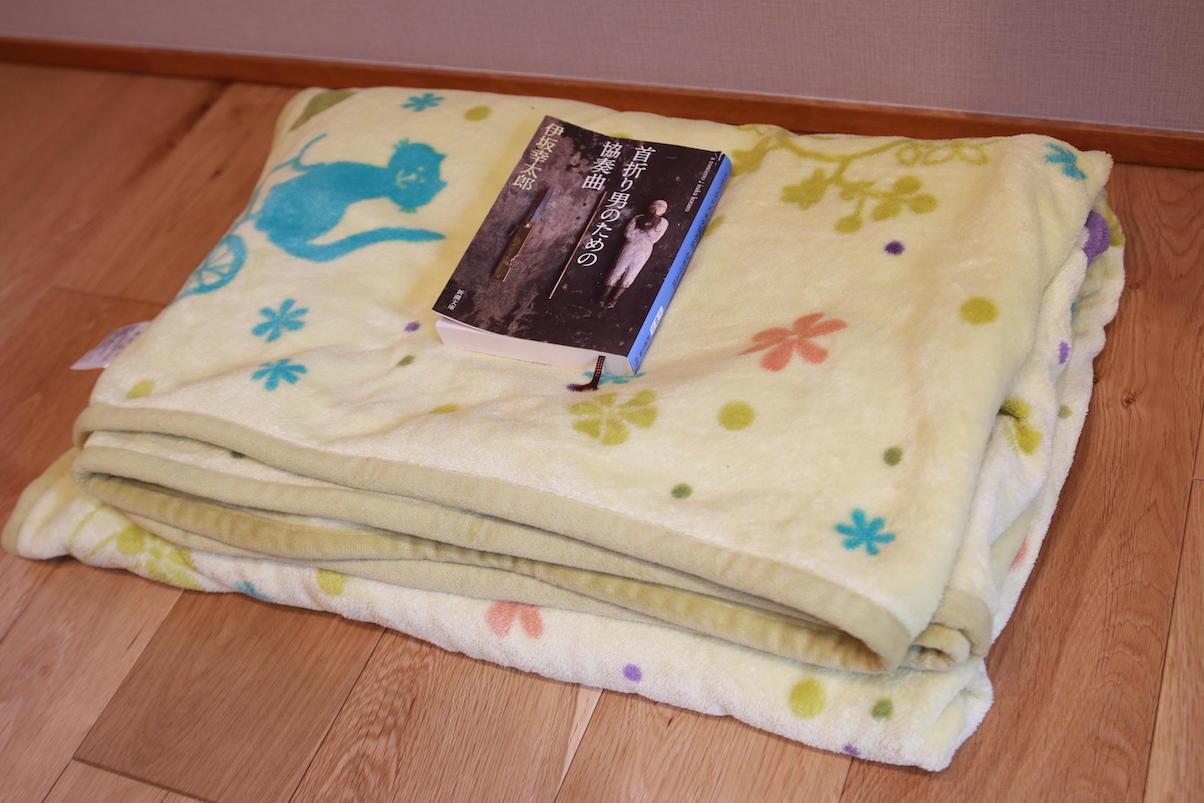 収納量のレビュー用に用意した毛布